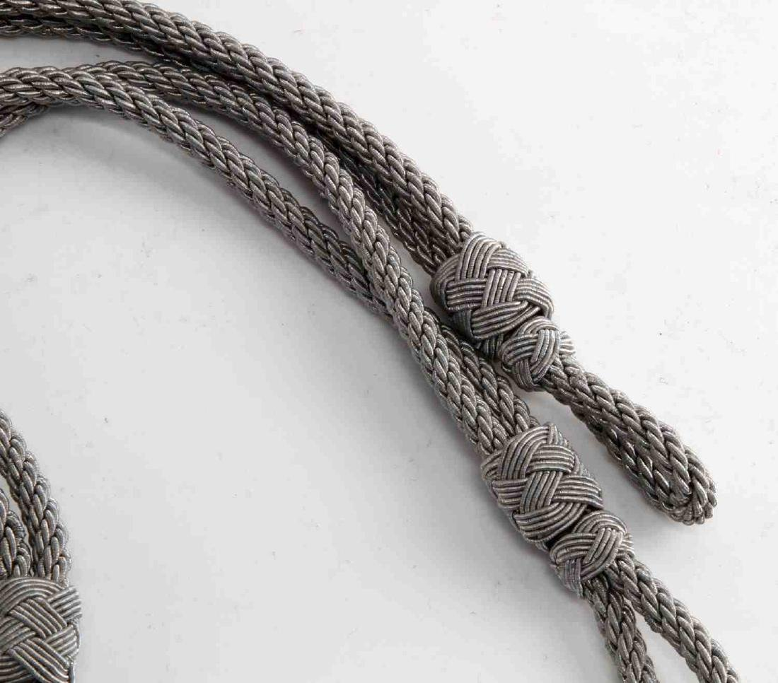 GERMAN WWII SS OFFICERS VISOR CAP CHIN CORDS - 2