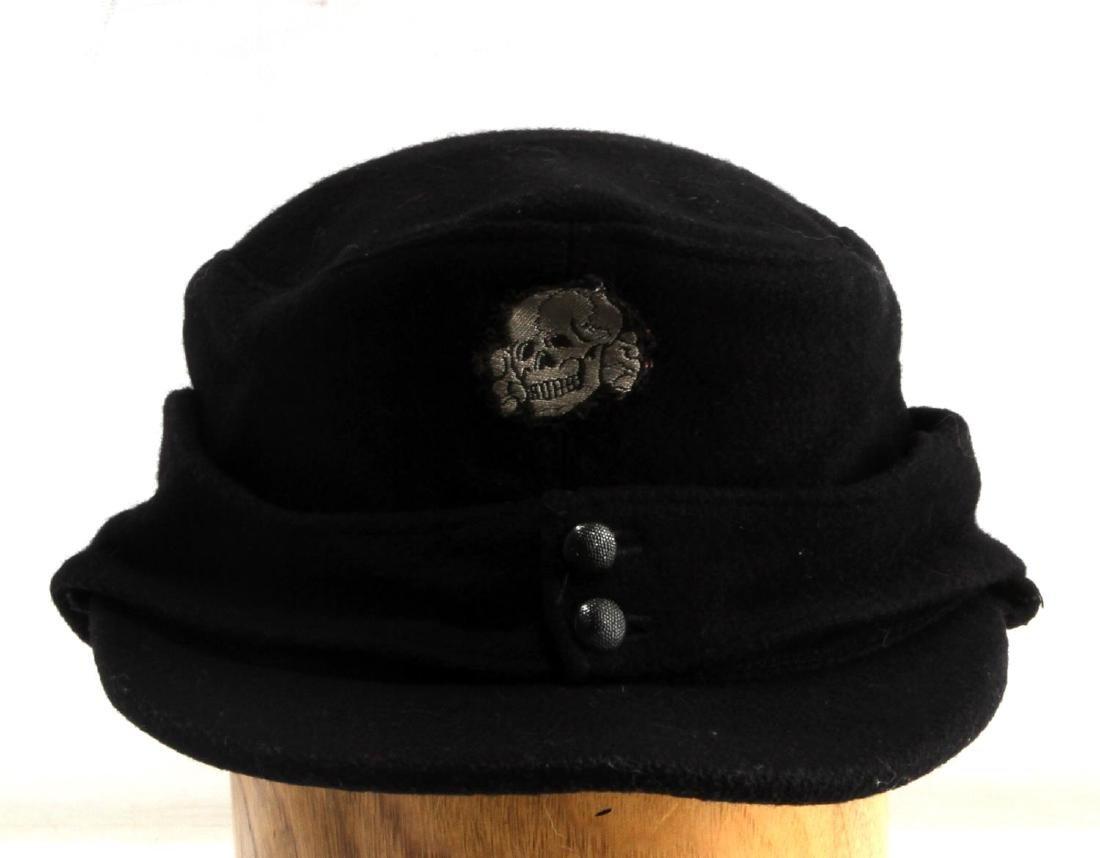 GERMAN WWII WAFFEN SS PANZER M-43 EM BILLED CAP