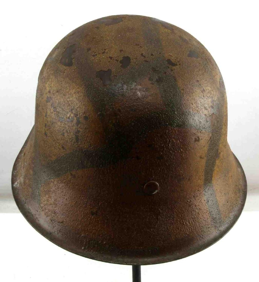 GERMAN BATTLE OF BULGE M-42 PAINTED COMBAT HELMET - 3