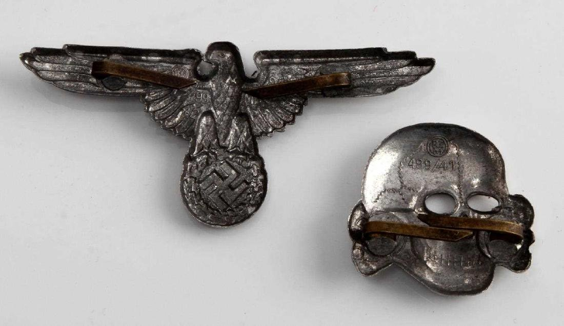 WWII WAFFEN SS OFFICERS VISOR CAP EAGLE & SKULL - 2
