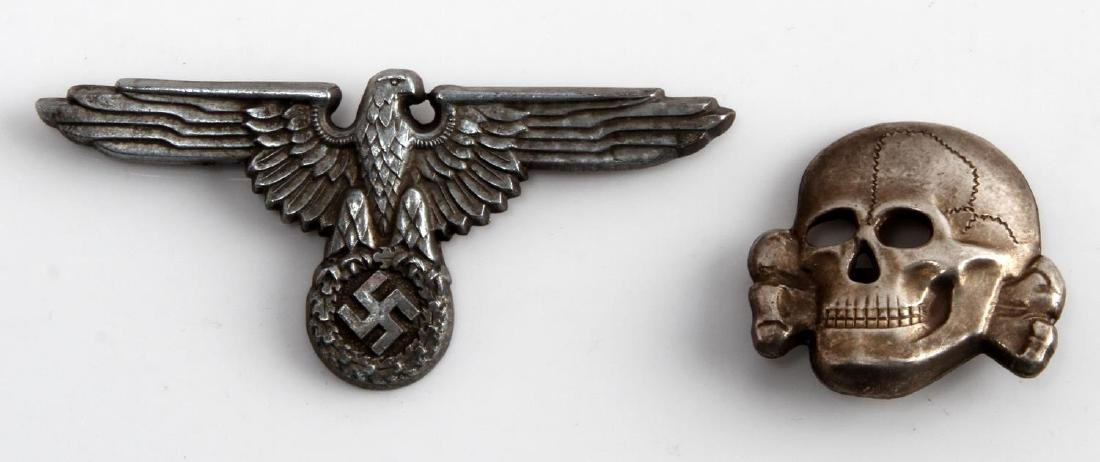 GERMAN WWII WAFFEN SS OFFICERS CAP EAGLE & SKULL