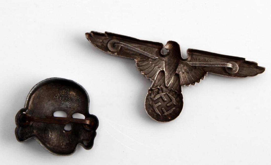 GERMAN WWII WAFFEN SS OFFICER CAP EAGLE & SKULL - 2