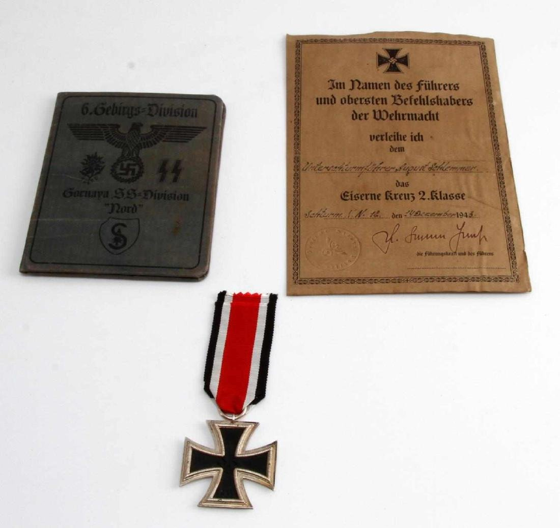 GERMAN WWII IRON CROSS W LETTER & SS NORD AUSWEIS