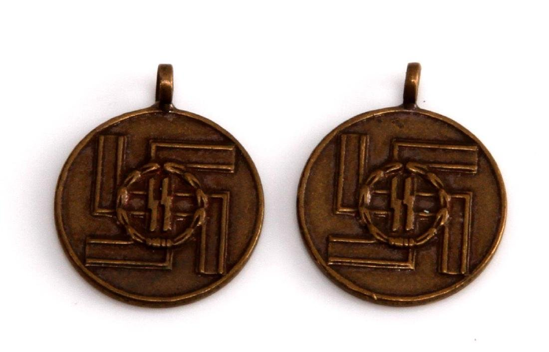 2 GERMAN WWII SS MINI 8 YEAR LONG SERVICE AWARDS