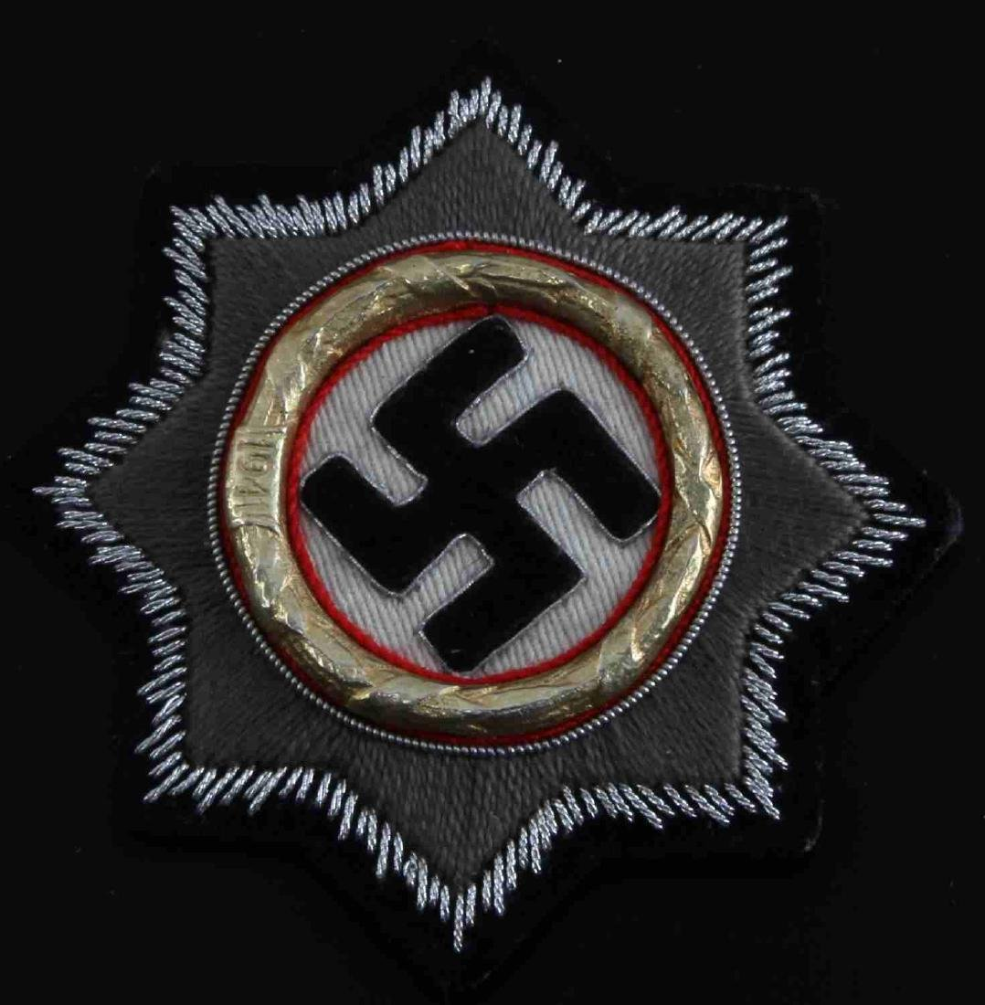 GERMAN WWII ARMY SS CLOTH GERMAN CROSS IN GOLD
