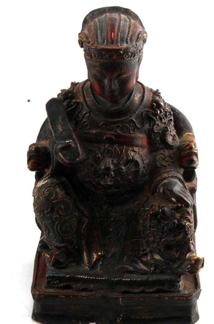 ANTIQUE CHINESE KITCHEN GOD WOOD POLYCHROME STATUE