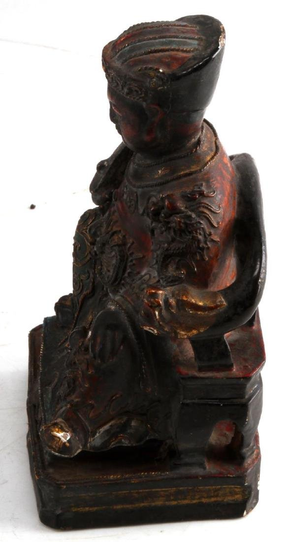 ANTIQUE CHINESE KITCHEN GOD WOOD POLYCHROME STATUE - 2