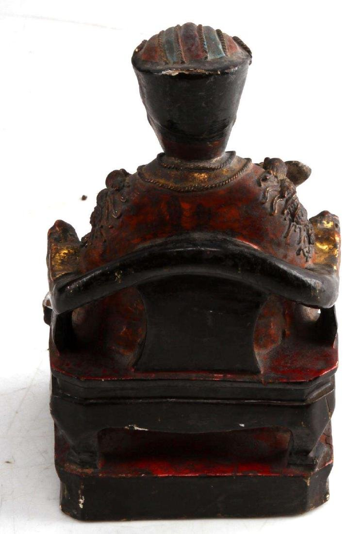 ANTIQUE CHINESE KITCHEN GOD WOOD POLYCHROME STATUE - 3