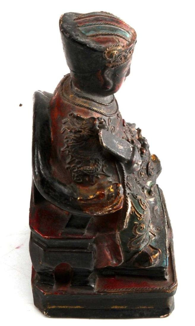 ANTIQUE CHINESE KITCHEN GOD WOOD POLYCHROME STATUE - 4