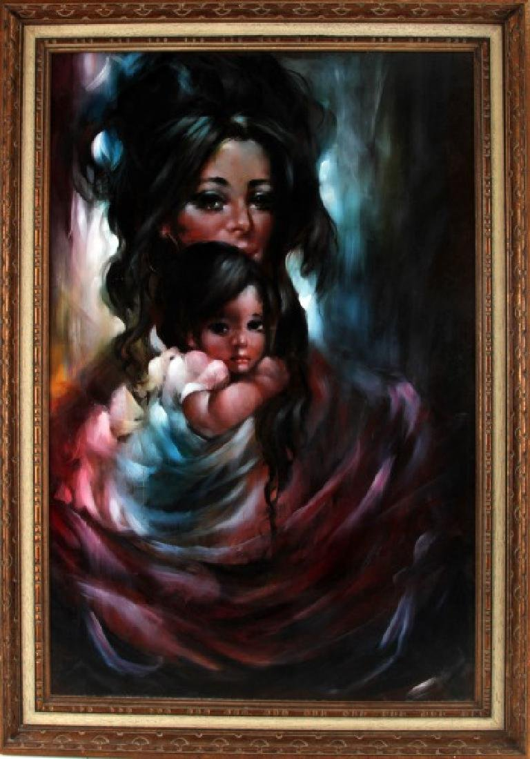 VINTAGE MID CENTURY OIL PAINTING MOTHER AND CHILD