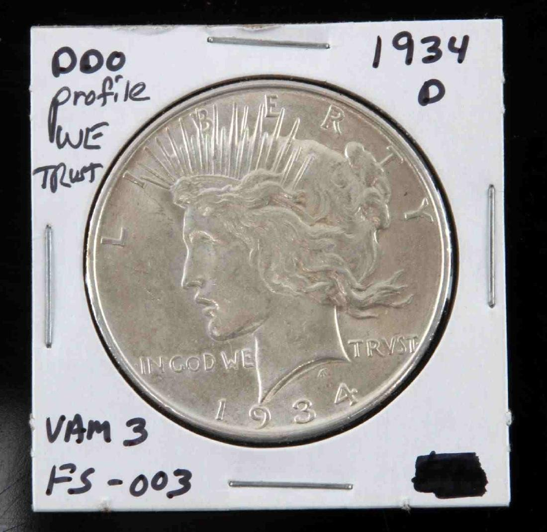 1934-D PEACE DOLLAR DOUBLED OBVERSE FS VARIETY