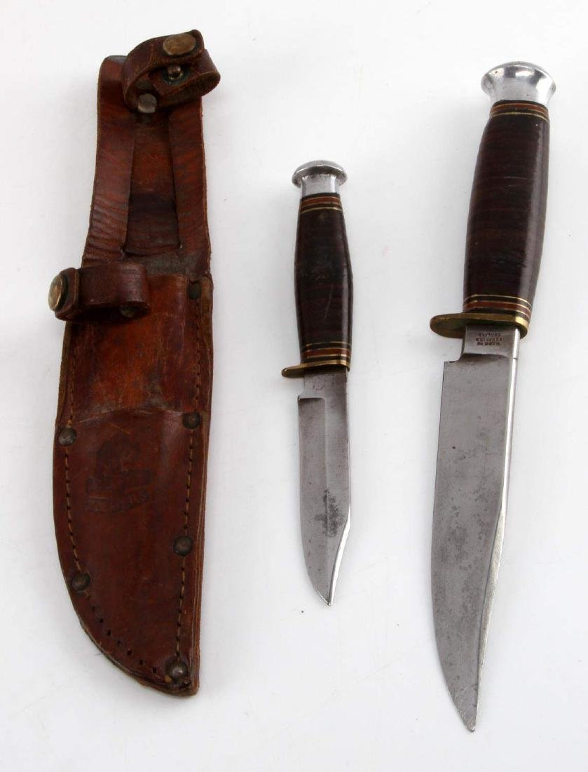 DOUBLE KNIFE WITH SHEATH SET WILLIAM RODGERS 1930S