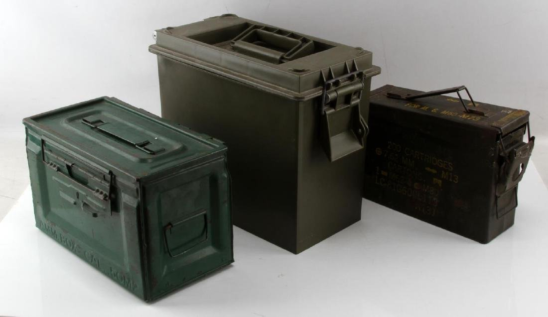 3 MILITARY AMMO CANS M60 7.62 50CAL MORE