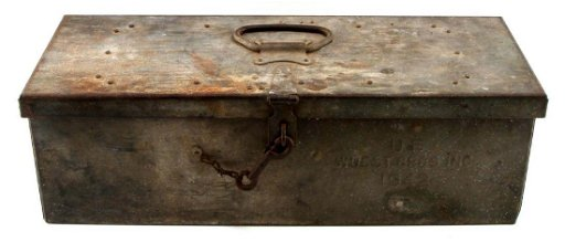 LARGE US MILITARY BOX 1942 FILLED W MILITARY ITEMS