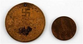 PAIR OF WWII GERMAN THIRD REICH PFENNIG COINS
