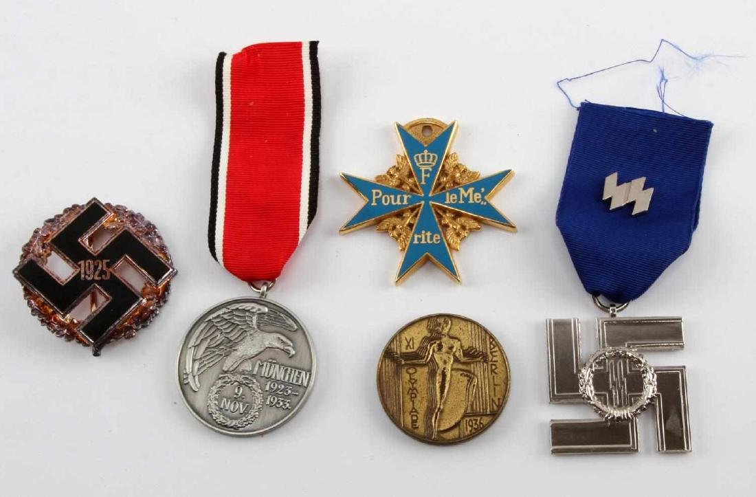 WWII GERMAN THIRD REICH BADGE MEDAL LOT OF FIVE