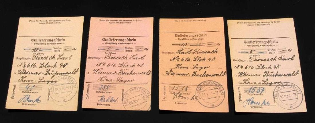 WWII GERMAN RECEIPTS FOR PARCELS SENT BUCHENWALD