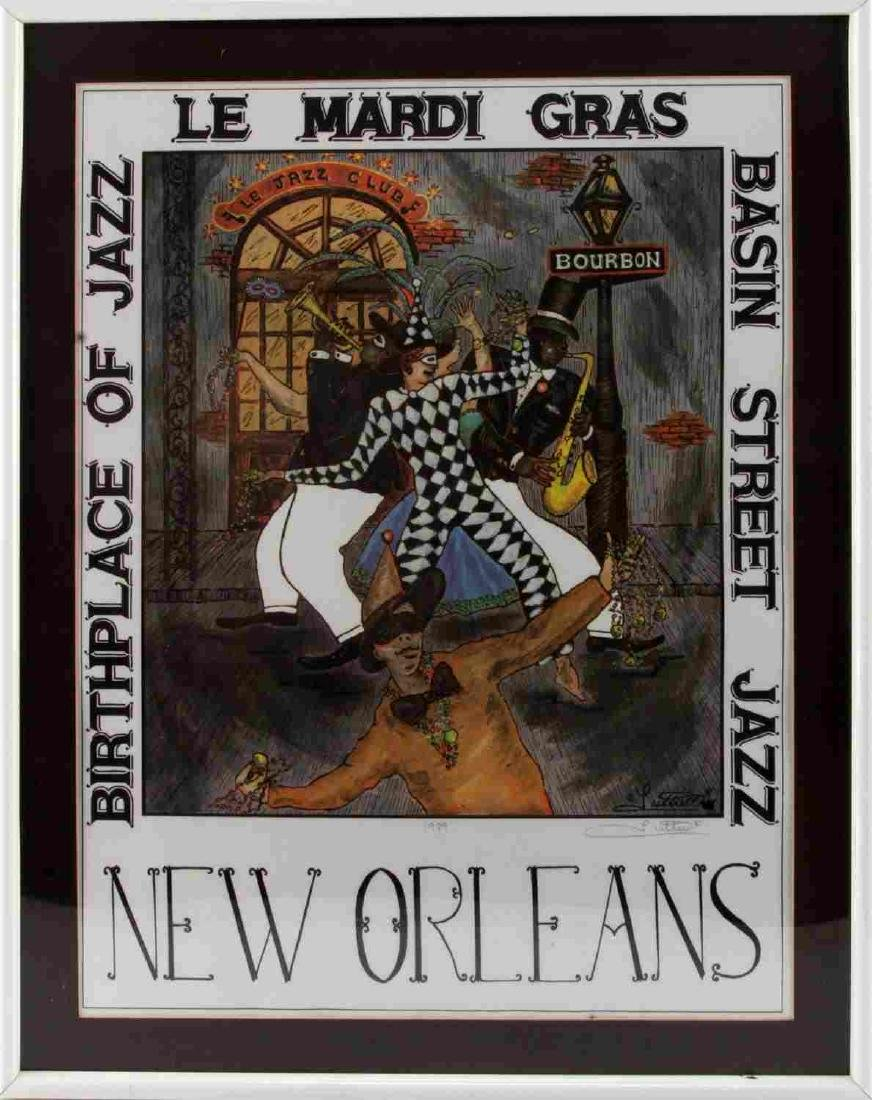 SIGNED LUTTRELL MARDI GRAS NEW ORLEANS JAZZ PRINT
