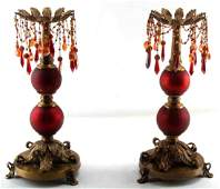 ORNATE RED CRACKLE GLASS AND BRASS CANDLE STICK