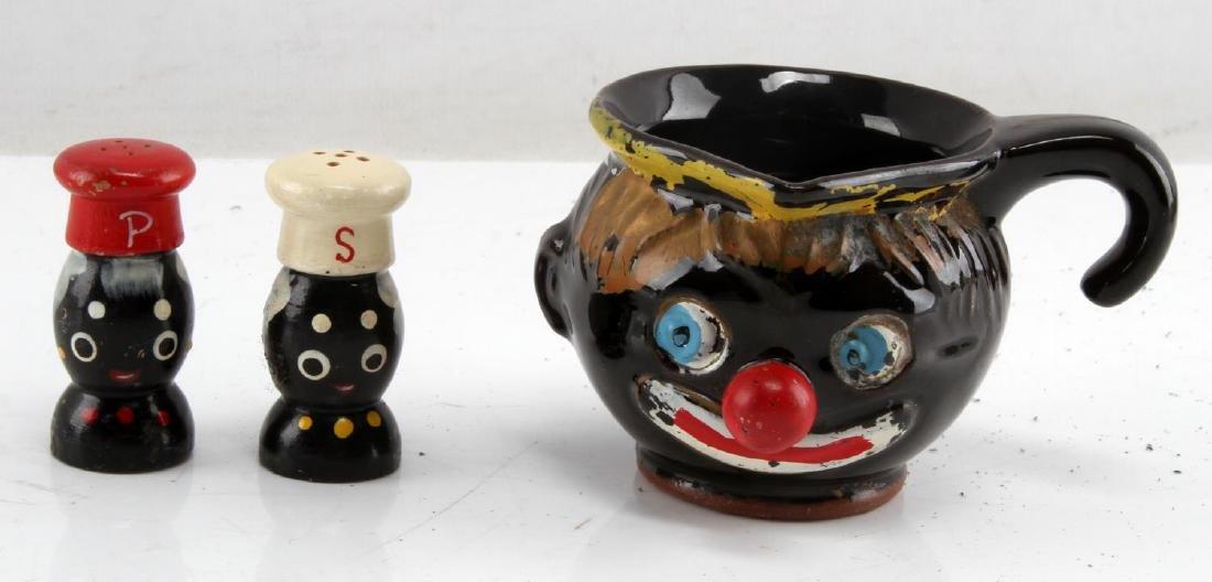 BLACK AMERICANA CREAMER CUP SALT & PEPPER SHAKERS