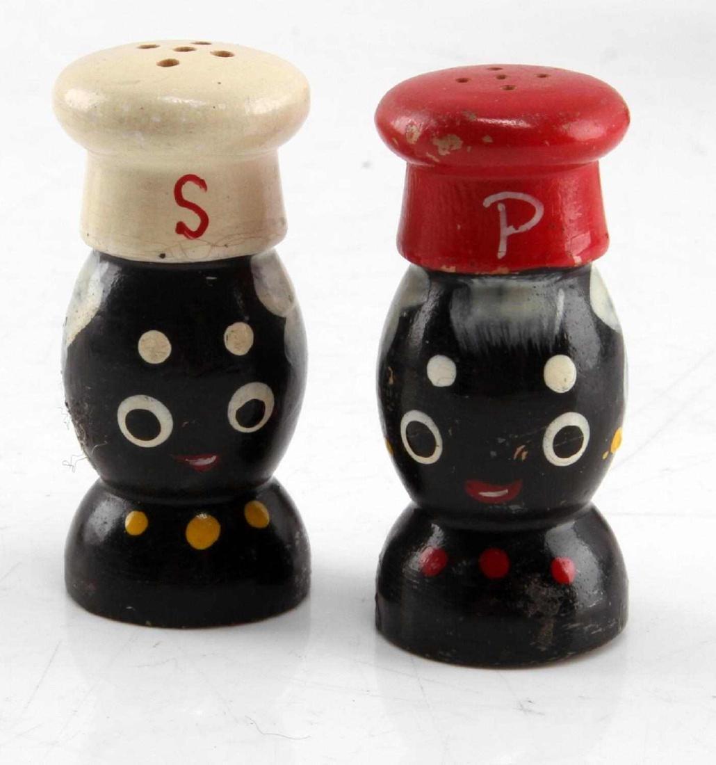 BLACK AMERICANA CREAMER CUP SALT & PEPPER SHAKERS - 2