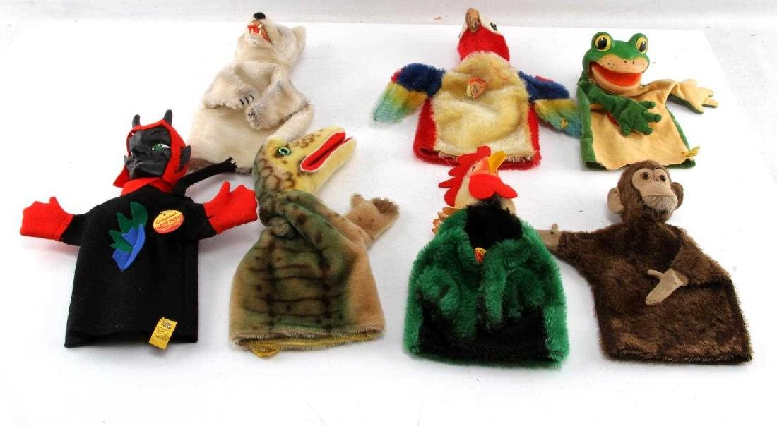 LOT 10 VINTAGE STEIFF ANIMAL HAND PUPPETS GERMAN