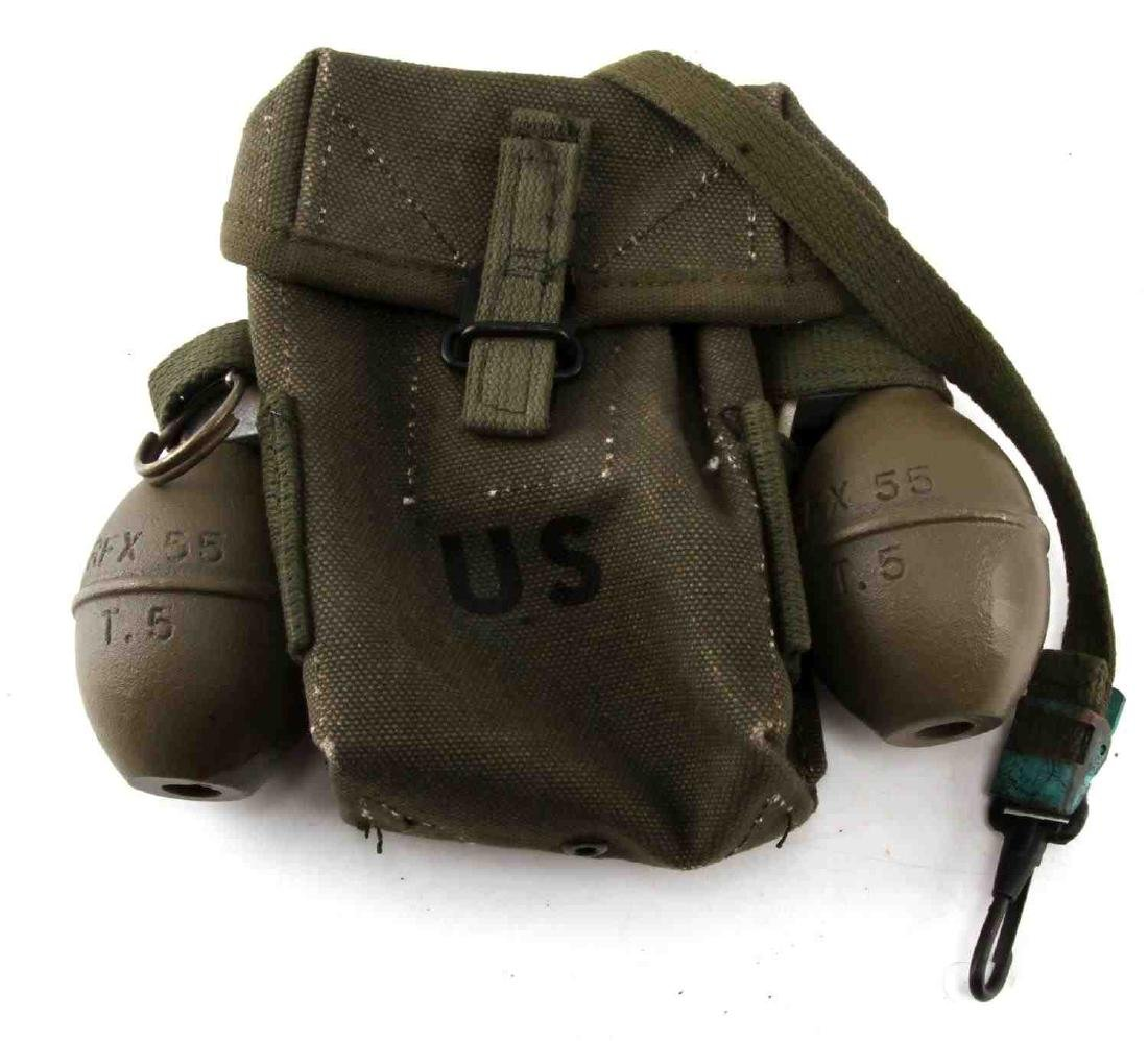 POST WWII US ARMY AMMO POUCH AND DUMMY GRENADE LOT