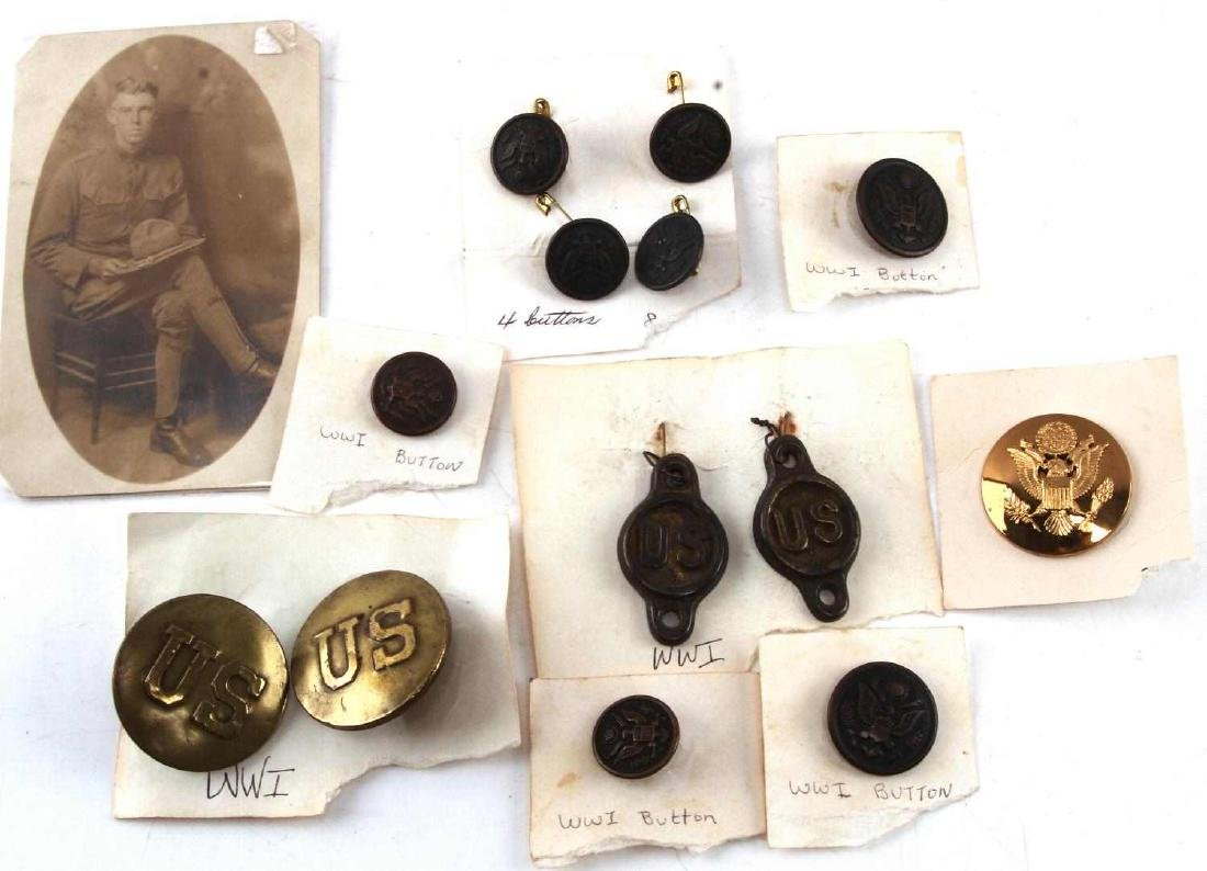 LOT OF 14 US WWI ERA BUTTONS POSTCARD MORE