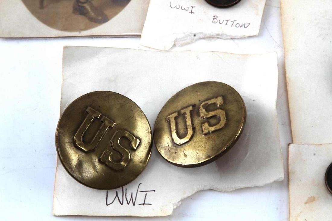 LOT OF 14 US WWI ERA BUTTONS POSTCARD MORE - 3