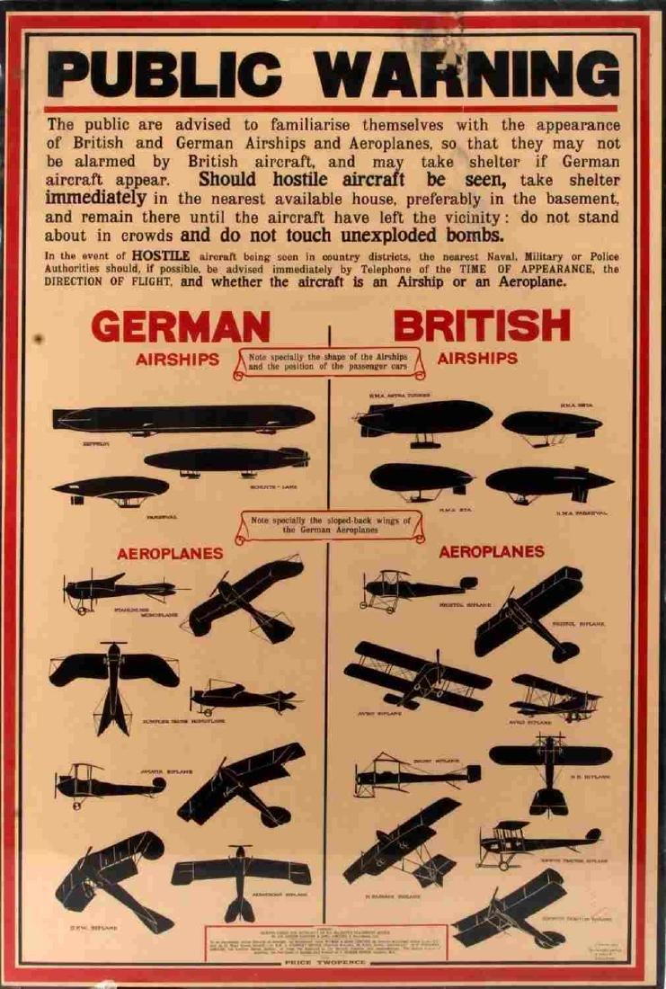 WWI 1915 BRITISH PUBLIC WARNING AIRCRAFT ID POSTER