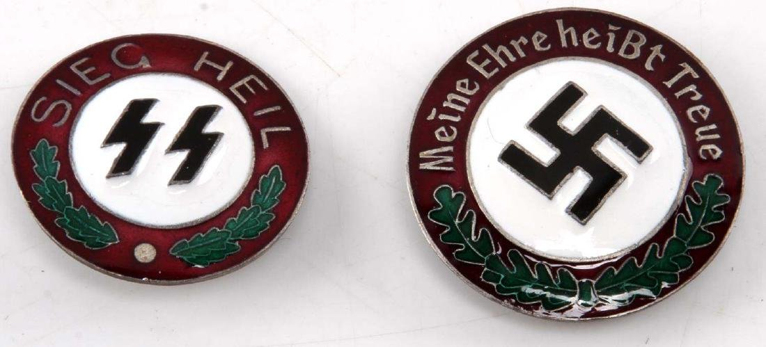 2 WWII GERMAN THIRD REICH SS BADGE LOT SEIG HEIL