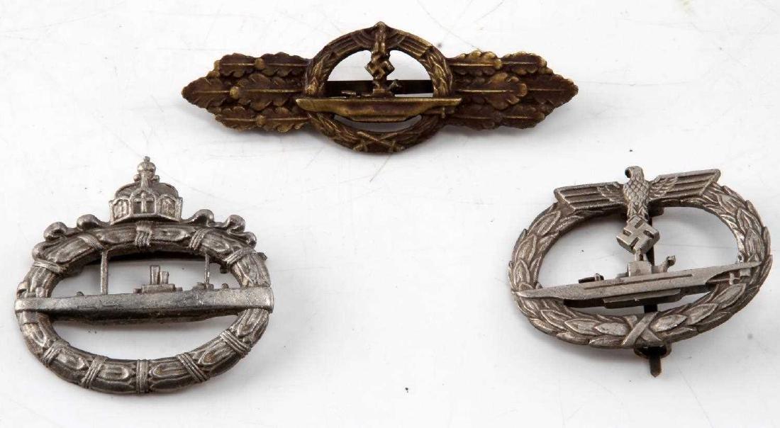 3 WWII GERMAN KRIEGSMARINE U BOAT BADGE LOT