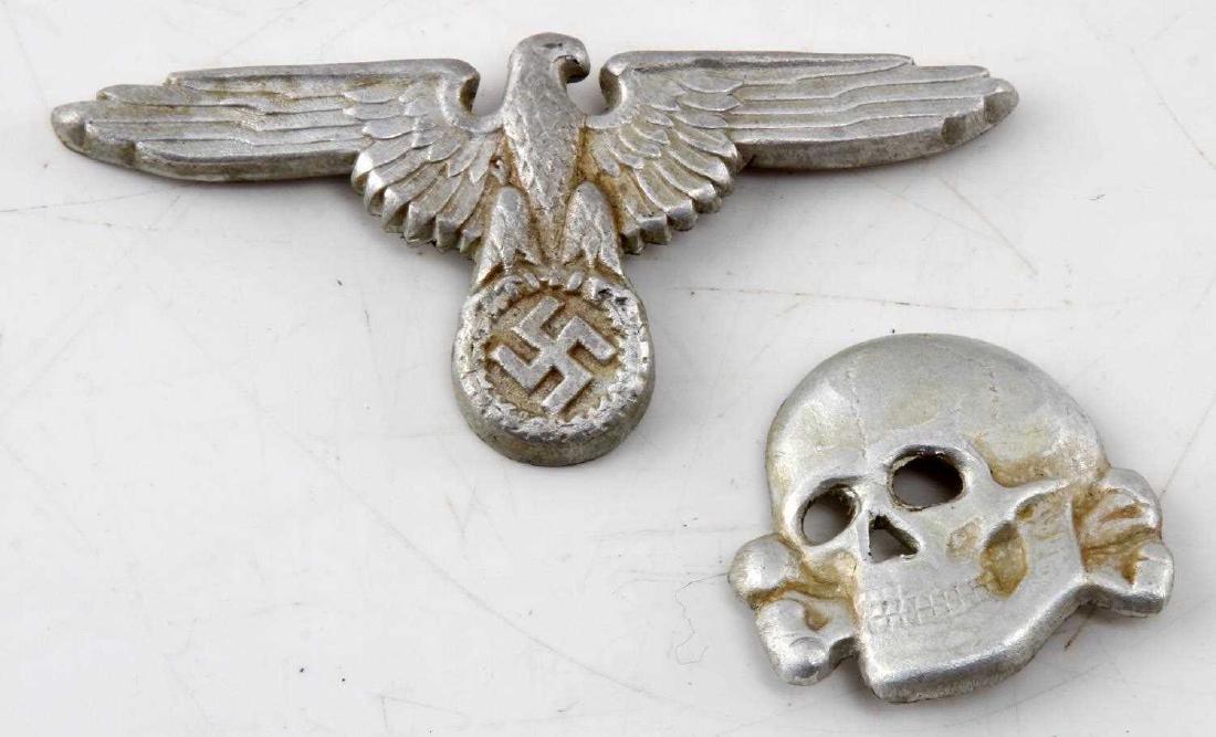 2 WWII GERMAN THIRD REICH SS VISOR CAP BADGE LOT