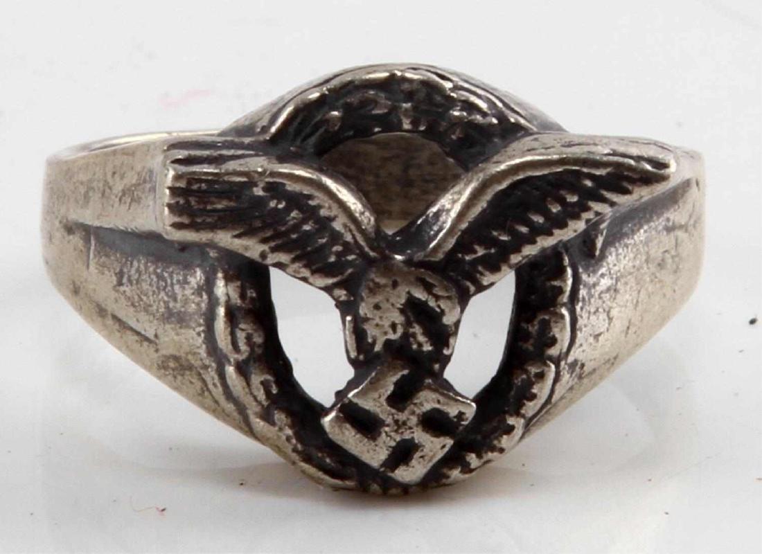 WWII GERMAN NSDAP LUFTWAFFE PILOTS SILVER RING 925