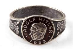 WWII GERMAN NSDAP ADOLF HITLER SILVER RING