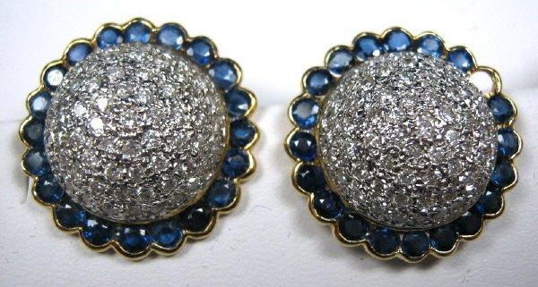 DIAMOND & SAPPHIRE DOME EARRING PAIR
