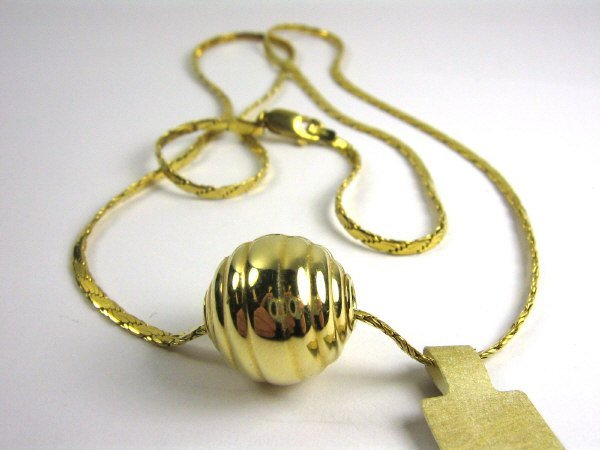 """18K GOLD 20"""" ITALIAN WHEAT LINK WITH GOLD SLIDE"""
