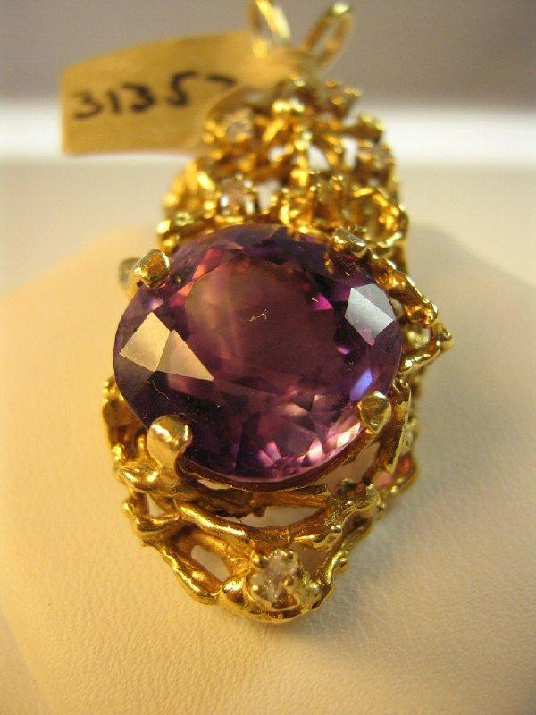 ORNATE 14K GOLD AMETHYST / DIAMOND PENDANT