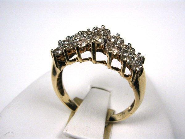 14K YELLOW GOLD LADIES 1 CT DIAMOND COCKTAIL RING