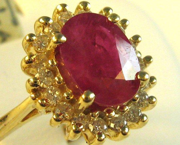 LADIES RUBY / DIAMOND RING 14K YELLOW GOLD