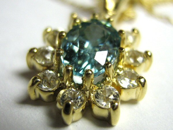 BLUE TOPAZ AND ZIRCON PENDANT 14K GOLD WITH CHAIN