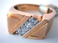 10K GOLD MENS MODERN DESIGN 14 CARAT DIAMOND RING