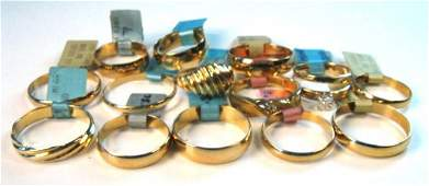 NEW 10K GOLD WEDDING BANDS 12 PCS BARREL STYLE