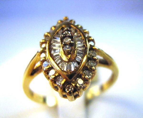 ANTIQUE 14K ROSE BAGUETTE /SINGLE CUT DIAMOND RING