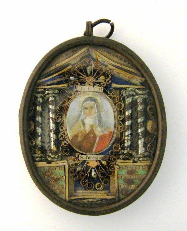 ANTIQUE CATHOLIC 7 SAINT RELIC ST THERESA & JOSEPH