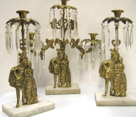 ANTIQUE GIRANDOLE BRASS MARBLE CANDLE HOLDERS