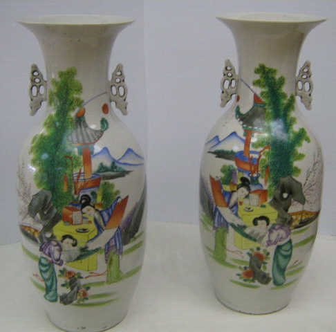 PAIR OF HAND PAINTED POLYCHROME CHINESE VASES