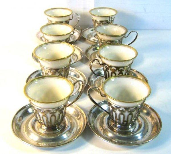 LOT 8 LENOX STERLING DEMITASSE CUPS W/ SAUCERS