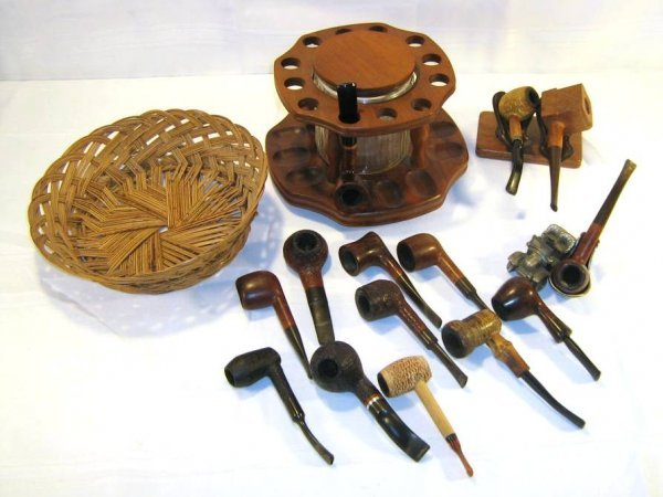 PIPE LOT & TOBACCO JAR HUMIDOR RACK REST LEATHER