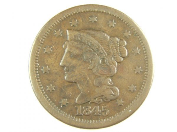 1845 LARGE CENT VF, N-5 DIE STATE A